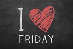 I Love Friday hand-written on blackboard. I Love Friday hand-written on the blackboard stock photos