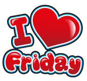 I love friday. With heart in bright red Stock Images