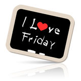I Love friday Slogan - Title on Blackboard. Vector Royalty Free Stock Images