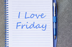 I love friday write on notebook Royalty Free Stock Images