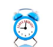I love Fridays! Alarm clock. Ringing isolated on white Stock Images