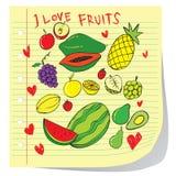 I Love Fruits Stock Photos