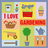 I love gardening. Some plants, flowers ang gardening tools Stock Photo