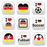 I love German football, soccer buttons set. Soccer ball with flag of Germany vector buttons set isolated on white Royalty Free Stock Image