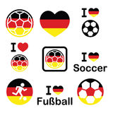 I love German football, soccer icons set Royalty Free Stock Images