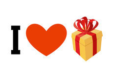 I love gifts. Heart and box with  bow. Logo for fans to get pres Royalty Free Stock Photo