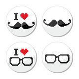 I love glasses and mustache / moustache icons set Royalty Free Stock Images