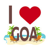 I love Goa, India. Travel. Palm, summer, lounge chair. Vector flat illustration. Royalty Free Stock Photo