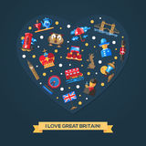 I love Great Britain heart card with famous British symbols Royalty Free Stock Image