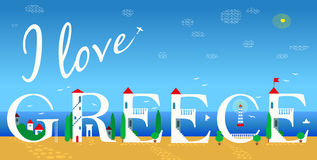 I love Greece. Illustration Stock Images