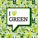 I love green message over icons background texture Royalty Free Stock Photo
