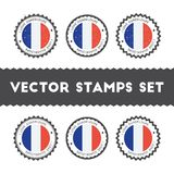 I Love Guadeloupe vector stamps set. royalty free illustration