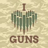 I love guns vector illustration. Military concept. For print, web, t-shirts, postcard. Royalty Free Stock Image