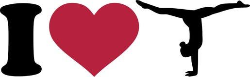 I love Gymnastics Silhouette. Vector illustration Stock Photo