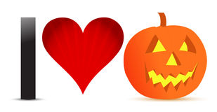 I love halloween pumpkin banner illustration Royalty Free Stock Photography