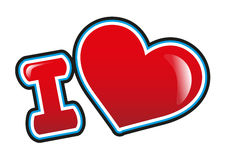I Love. With heart in bright red Royalty Free Stock Photo