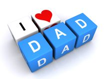 I Love Heart Dad Letter Cubes Royalty Free Stock Images