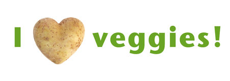 I love (heart) veggies heart shaped potato spud Royalty Free Stock Photo