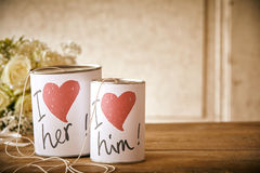I love her and him cans with string Stock Image