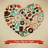 I Love Hipster Style Icon Set Stock Photography