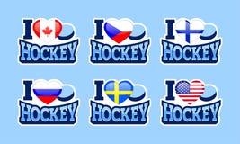 I love hockey vector sticker. Canada, Czech Republic, Finland, Russia, Sweden, USA national flags. Sport cards. Ice Hockey Big Six stock illustration