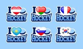 I love hockey vector stickers. Austria, Belarus, France, Kazakhstan, Slovenia, South Korea national flags. Sport poster vector illustration