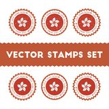 I Love Hong Kong vector stamps set. Stock Images