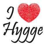 I love hygge sign  with geometric  heart shape inspired by Scandinavian art  symbolizing Danish Life style Stock Image
