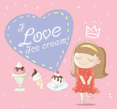 I Love Ice cream. Cute cartoon illustration / EPS 10 Stock Photo