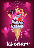 I love this ice cream poster with Cupid Royalty Free Stock Photography