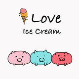 I Love Ice Cream Typography with Pig And Ice Cream. Stock Photography