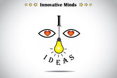 I love ideas face with bright light yellow lightbulb art concept Royalty Free Stock Images