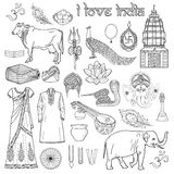 I love India. Set of indian objects and symbol Om, useful for co Royalty Free Stock Image