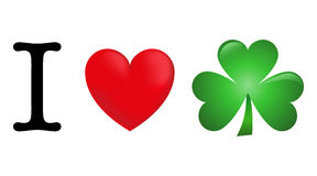 I love Ireland. An Illustration of shamrock symbol of Ireland and Saint Patrick. Ideal for St Patrick day at 17th of march Royalty Free Stock Photography