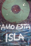 I love this island. Graffiti on a wall of an old house in Centro Havana Stock Photography