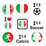 I love Italian football, soccer icons set Stock Photography