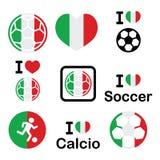 I love Italian football, soccer icons set Stock Photography