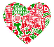 I love Italy. Traditional symbols of Italy in the form of heart