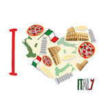 I love Italy. Symbol heart of   attractions of Italy: pizza and Stock Photos