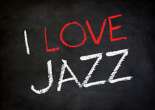 I love Jazz. Chalkboard concept stock photography