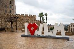 I love Jerusalem sign in Jerusalem, Israel.  stock images