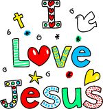 I love Jesus. Decorative text message isolated on white Royalty Free Stock Photography