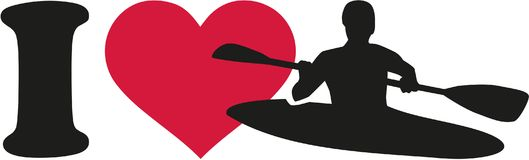 I love kayaking silhouette. Vector Stock Image