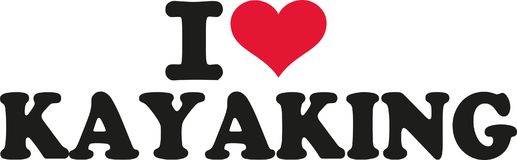 I love Kayaking. Vector sports Stock Photography