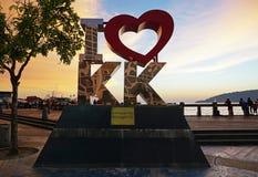 I Love KK landmark in Kota Kinabalu. Kota Kinabalu, Malaysia - August 01, 2017: Back lit of the new landmark I LOVE KK at sunset.The city's new landmark at Royalty Free Stock Image