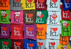 I Love KL t-shirts. I Love KL (Kuala Lumpur) t-shirts in various colours on display at Central Market Kuala Lumpur. The market was founded in 1888 and originally Stock Photos