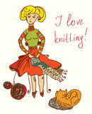 I love knitting card with funny woman cute Royalty Free Stock Images