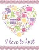I love knitting heart. Needlework and knitting, yarn ball and handmade, needlecraft and handcraft. Vector illustration Stock Photo