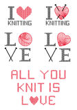 I love knitting,  set Royalty Free Stock Photos