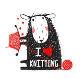 I Love Knitting Sheep Print with Sign Royalty Free Stock Photography